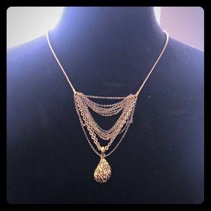 Diane Von Furstenberg Gold Plate Teardrop Necklace